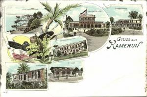cameroon, D.W.A., Litho, Hospital, Governor's House, School, Post Office (1899)