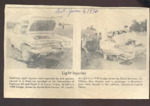 1970 SEDALIA MISSOURI CAR WRECK CARS VINTAGE NEWSPAPER ARTICLE DODGE