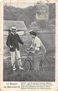 La Lecon de Bicyclette, Bicycle Lesson, Vintage, Elegant Clothing