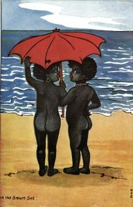 Black Girls on the Beach, Artist Signed Mos (1910s) Tuck Happy Little Coons