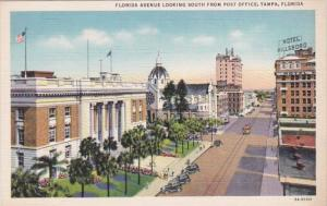 Florida Tampa Florida Avenue Looking South From Post Office Curteich