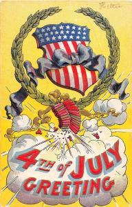E17/ Patriotic Postcard Fourth of July 4th 1909 Girard Penn Fireworks Shield 20