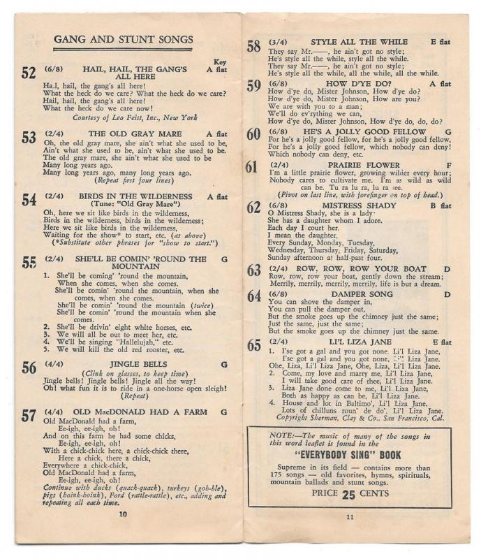 Allentown PA Waldon Music Shop Pioneer Community Song Sheet
