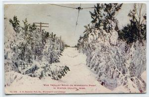 Trolley Tram Road Track Under Snow Minnesota Point Duluth MN 1908 postcard