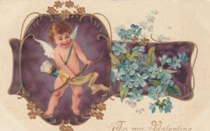 TO MY VALENTINE, 1900-10s; Cupid getting bow ready, Embossed blue flowers