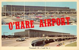 Chicago Illinois~O'Hare Airport 2 Views~Terminal 2 & 3~Lots of Cars~1963 Pc