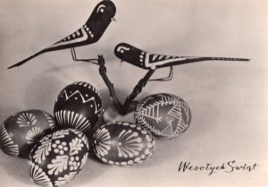 Polish Happy Christmas Real Photo Wooden Birds Vintage Postcard