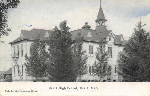 Evart MI Cupola Beifry Atop High School~Fire Escapes~Arch Door~Bluesky c1910 PC