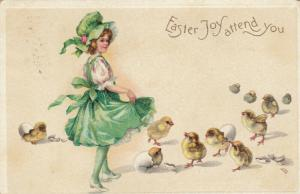 EASTER; PU-1909; Easter Joy attend You, Girl in green dress, hatching chicks
