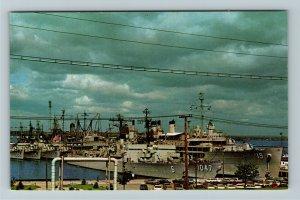 Newport RI-Rhode Island, Atlantic Fleet Ships, Chrome Postcard