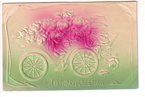 Embossed, Silkscreened Roses in Car, Birthday Greeting, NC