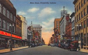 Main Street, Evansville, Indiana,  Early Linen Postcard, Unused