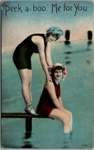 1920s Pin-Up Girl UK Bathing Beauty Postcard Peek-a-Boo. Me For You Unused