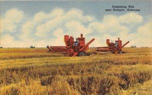 Combine Harvesting Rice Farming Stuttgart Arkansas linen postcard