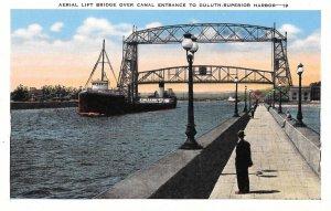 1940s Linen Postcard, Aerial Lift Bridge, Duluth-Superior, Natural Color