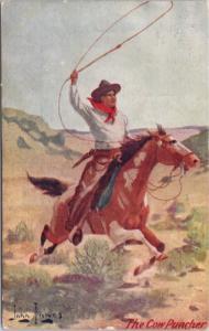 The Cow Puncher Cowboy Rancher 'Troilene' John Innes Artist Signed Postcard E29