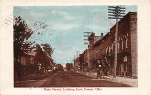 F41/ Forest Ohio Postcard 1921 Main Street East Stores
