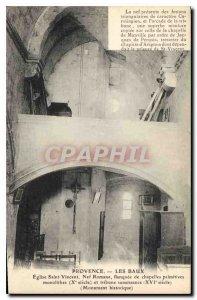 Old Postcard Provence Les Baux Church St Vincent Romanesque nave flanked by m...