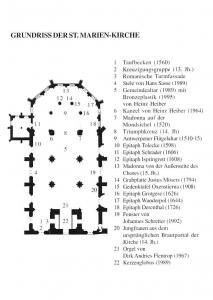 Grundriss der St. Marien-Kirche, Teufbecken, Romanische Turmfassade, Epitach