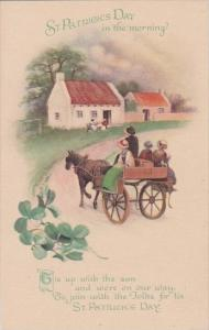 Saint Patrick's Day In The Morning Family Riding In Horse Drawn Cart