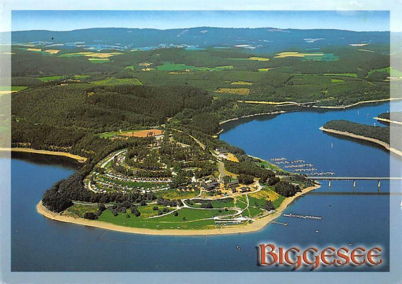 Biggesee im Suedsauerland Aerial view Camping Hafen Harbour Bridge Bruecke