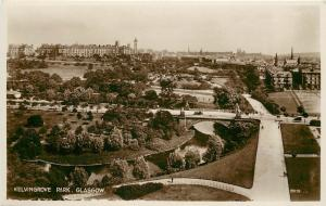 RPPC Postcard Kelvingrove Park Glasgow Scotland UK