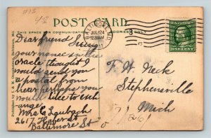 Baltimore MD, Peabody Institute E. Mount Vernon Place Vintage Maryland Postcard