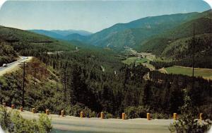 Missoula Montana-Coeur d' Alene Idaho-Lookout Pass View of Valley~1950s Postcard
