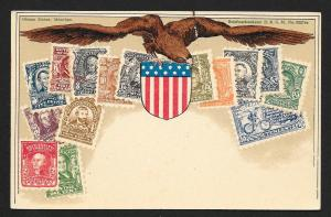 UNITED STATES Stamps on Postcard w/Eagle Used c1900-1930