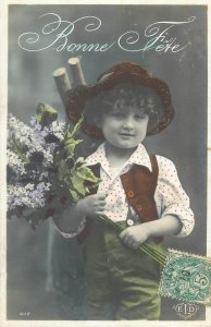 Post card New Year greetings little boy elegant outfit fancy hat lilac flower