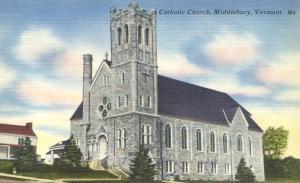 Catholic Church at Middlebury VT, Vermont - Linen