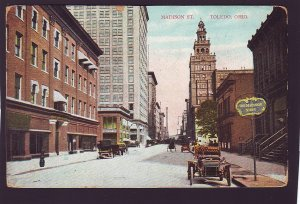 P1418 1909 used postcard old cars tom madison shop etc madison ave toledo ohio