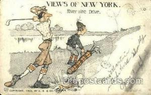 River side Drive, Views of New York Golf Postcard Post Card  River side Drive...