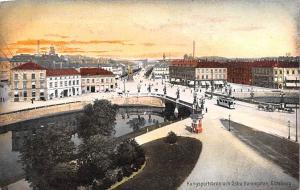 Sweden Old Vintage Antique Post Card Kungsportsbron och Ostra Hamngatan Goteb...