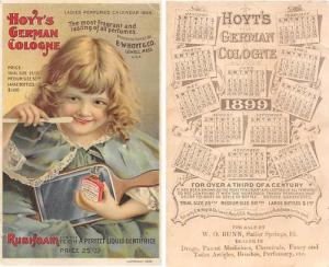 approx size inches = 3.25 x 5.5 Trade Card, Tradecard Calander 1899