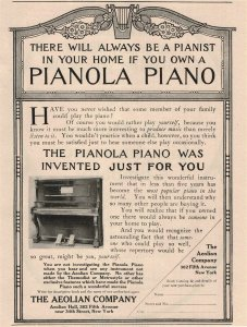 1907 Original Print Ad Pianola Piano Aeolian Co. Fifth Ave New York 2P1-6