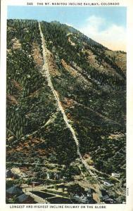 The Mt Manitou Incline Railway CO, Colorado - pm 1934 - WB