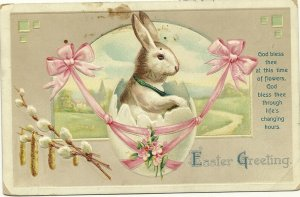 EASTER, 1900-10s; Greeting, Rabbit in Egg shell swing, Pink ribbons, Country ...
