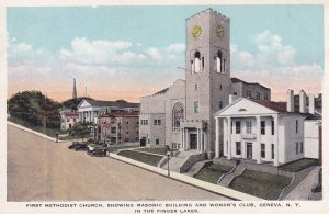 GENEVA, New York, 1900-1910's; First Methodist Church, Masonic Building And W...