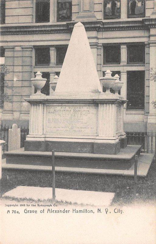Grave of Alexander Hamilton, New York City, 1905 Postcard, Unused
