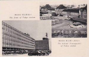 View of the front and the back of Tokyo Station,  Tokio, Japan, 40-50s