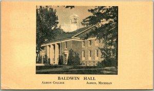 Albion Stamp Club, Michigan Postcard Baldwin Hall - ALBION COLLEGE / 1953 Cancel