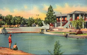 Texas Fort Stockton Comanche Spring Pool and Bath House Curteich