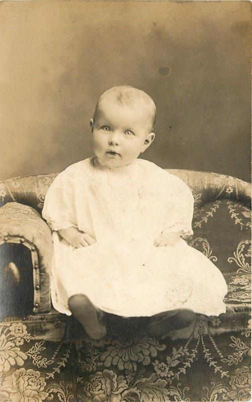 Vintage Real Photo Postcard~Baby on Flowered Couch~1908 RPPC