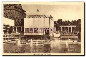 Old Postcard Paris Exposition Internationale 1937 Pavilion Sweden Eiffel Tower