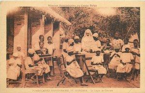 Belgian Congo Belge Niangara missions school sewing lesson