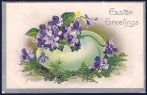 Easter Greetings Egg & Flowers unused c1910's