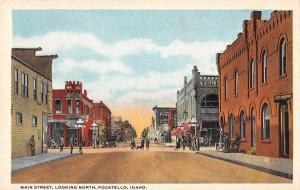 Pocatello Idaho Main Street Looking North Antique Postcard J46985