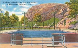 Manchester New Hampshire~Queen City~Municipal Swimming Pool~1940s Linen Postcard