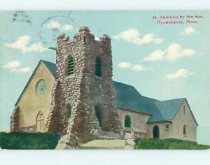 Divided-Back HYANNISPORT CHURCH SCENE Cape Cod Massachusetts MA L6197